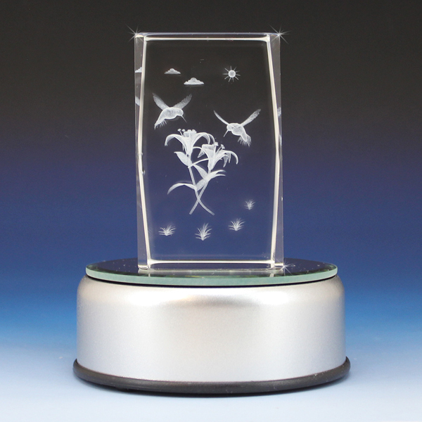 3d Crystal Two Hummingbirds Laser Engraved Cube Glass