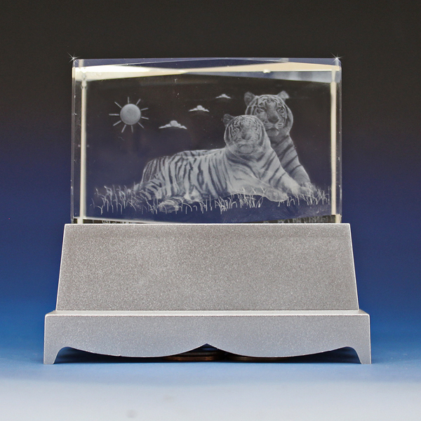 3d Crystal 2 Tigers Laser Engraved Cube Glass Gallery