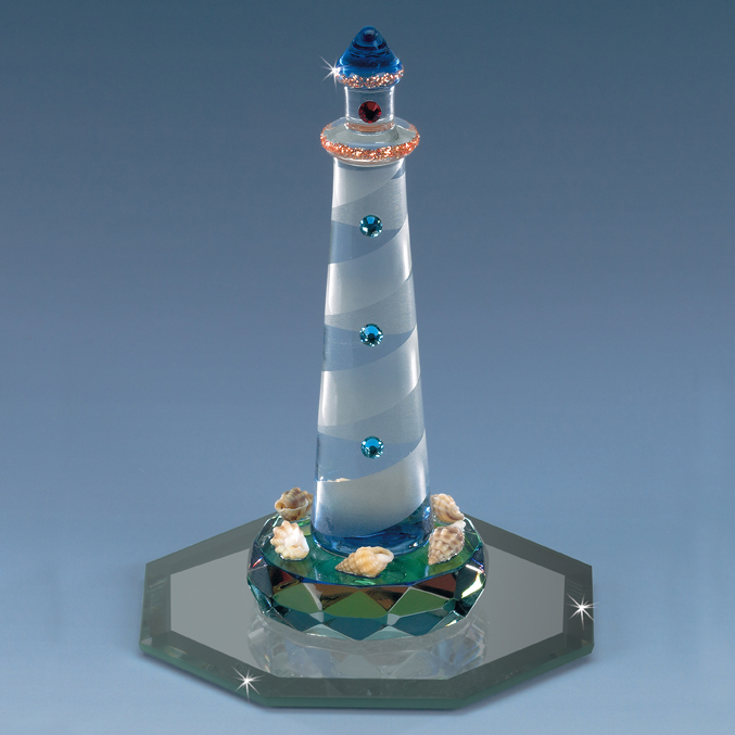 """Crystal World Crystal St Augustine Lighthouse FL Figurine New In Box 7/"""""""