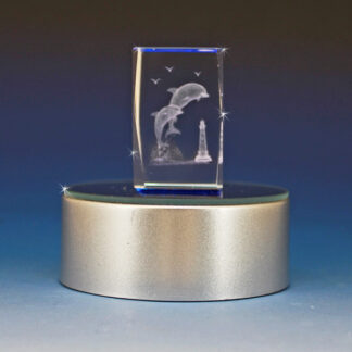 3D Laser Etched Crystal Dolphin Lighthouse Cube