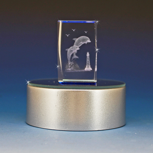 """3D Crystal """"Playful Dolphins""""Laser Engraved Cube"""