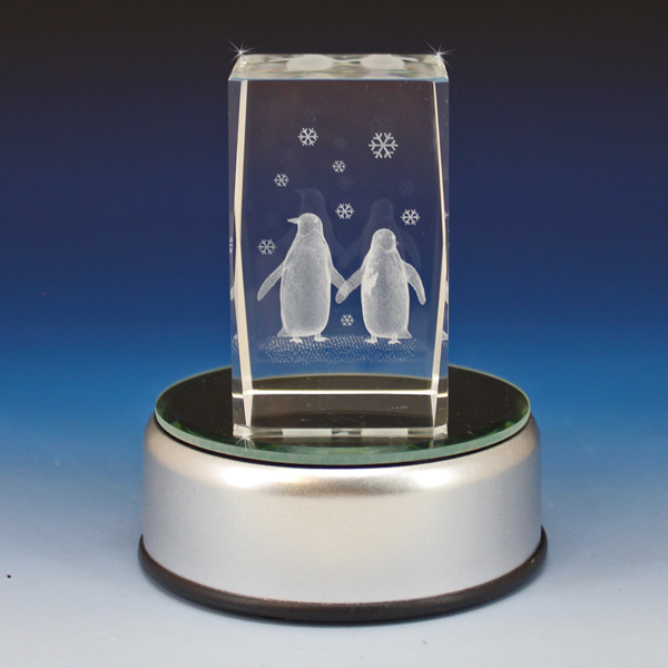 3d Crystal Two Penguins Laser Engraved Cube Glass Gallery