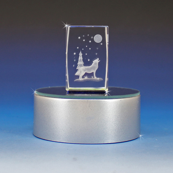 3d Laser Engraved Crystal Winter Wolf Glass Gallery