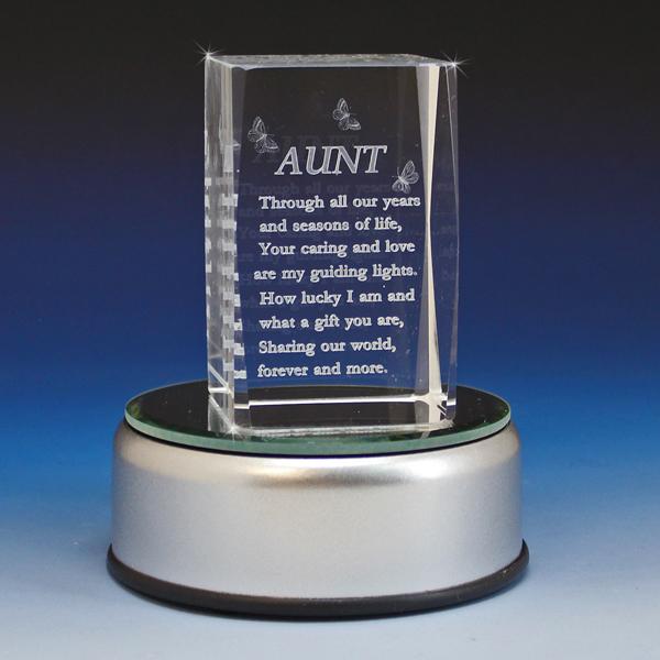 3d Crystal Aunt Poem Laser Engraved Glass Gallery
