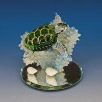 hand blown glass turtle figurine