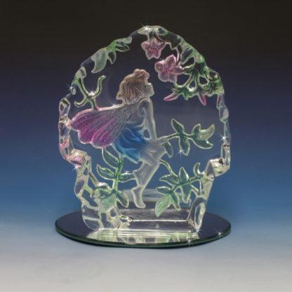 blown glass fairy crystal staute