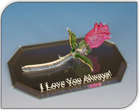 hand blown long stem rose glass gifts