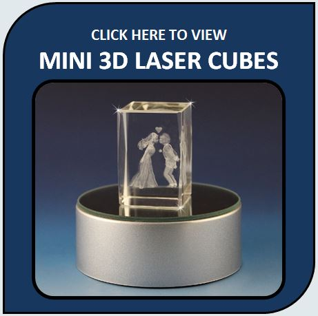 Mini 3D Crystal Laser Etched Cubes