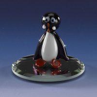 mini blown glass penguin animal figurine